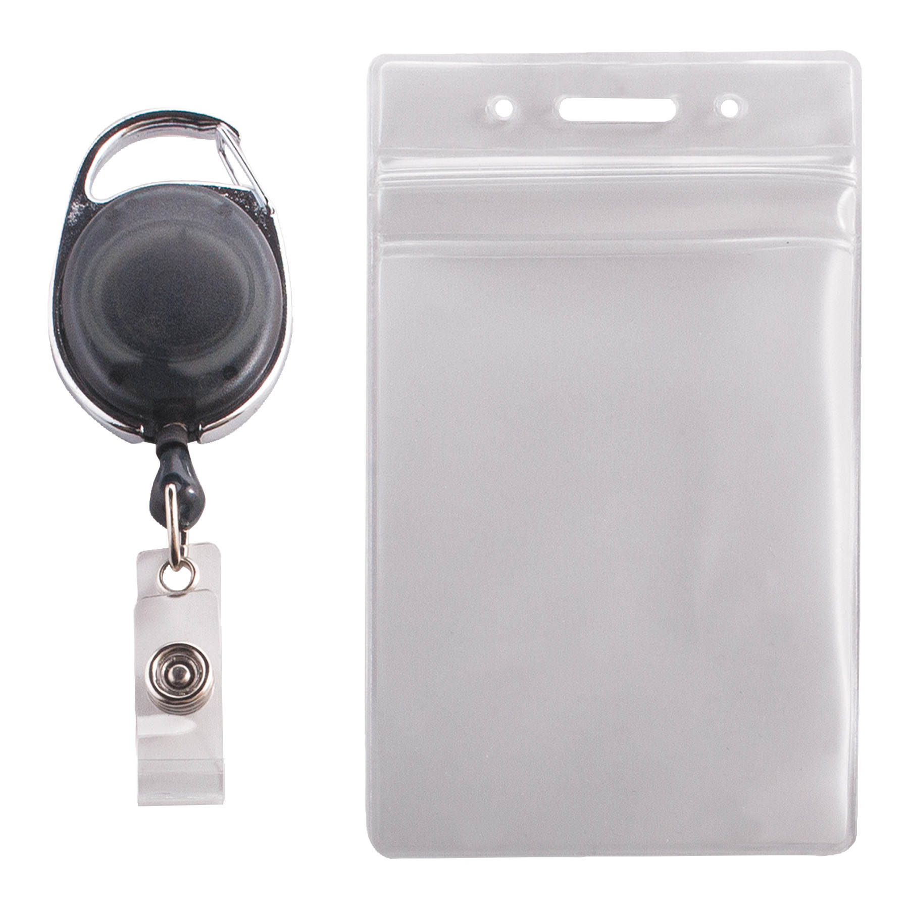 Advantus Resealable ID Badge Holder, Cord Reel, Vertical, 2 5 8 x 3 3 4, Clear, 10 Pack by ADVANTUS CORPORATION