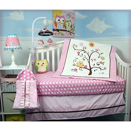 Soho Pink Cherry Tree Baby Crib Nursery Bedding Set 4 Pcs Diaper Bag Total 8