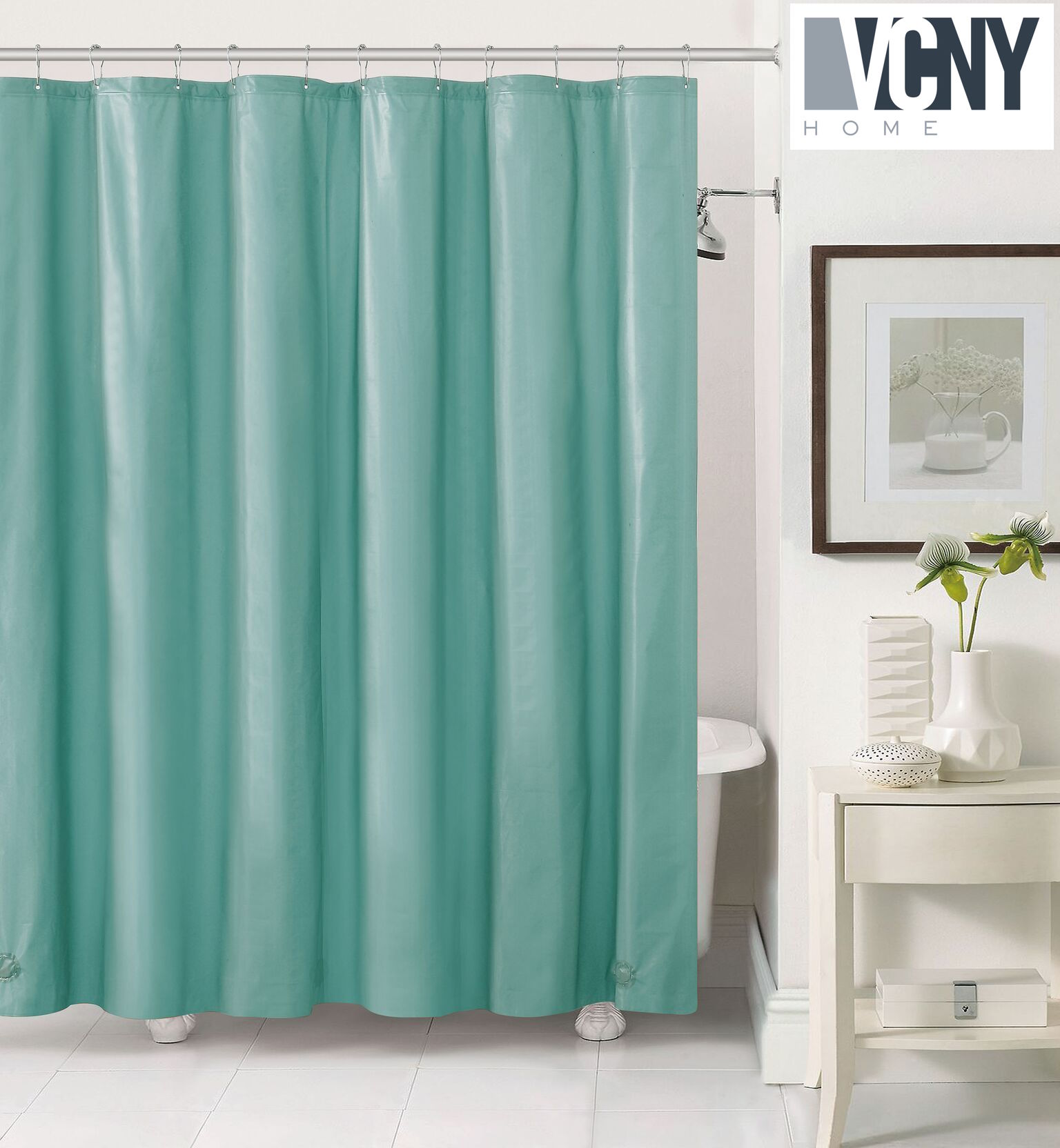 Peva Plastic Shower Curtain Liners With Magnets By Victoria Classics   Aqua