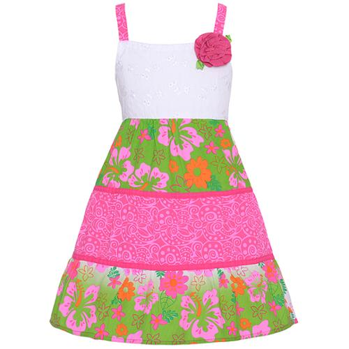 Sophie Fae Little Girls Pink Floral Scroll White Eyelet Pattern Dress 2T-6X