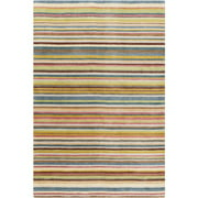8' x 11' Sarasvati Stripes Raspberry Red and Steel Blue New Zealand Wool Area Throw Rug