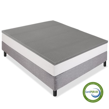 Best Choice Products 2in Queen Size Ventilated Bamboo Charcoal-Infused Memory Foam Mattress Topper with Open-Cell Cooling, CertiPUR-US Certification,