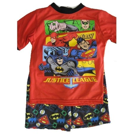 Justice Outfits (Little Boys Red Superheroes Print Logo 2 Pc Shorts Set)