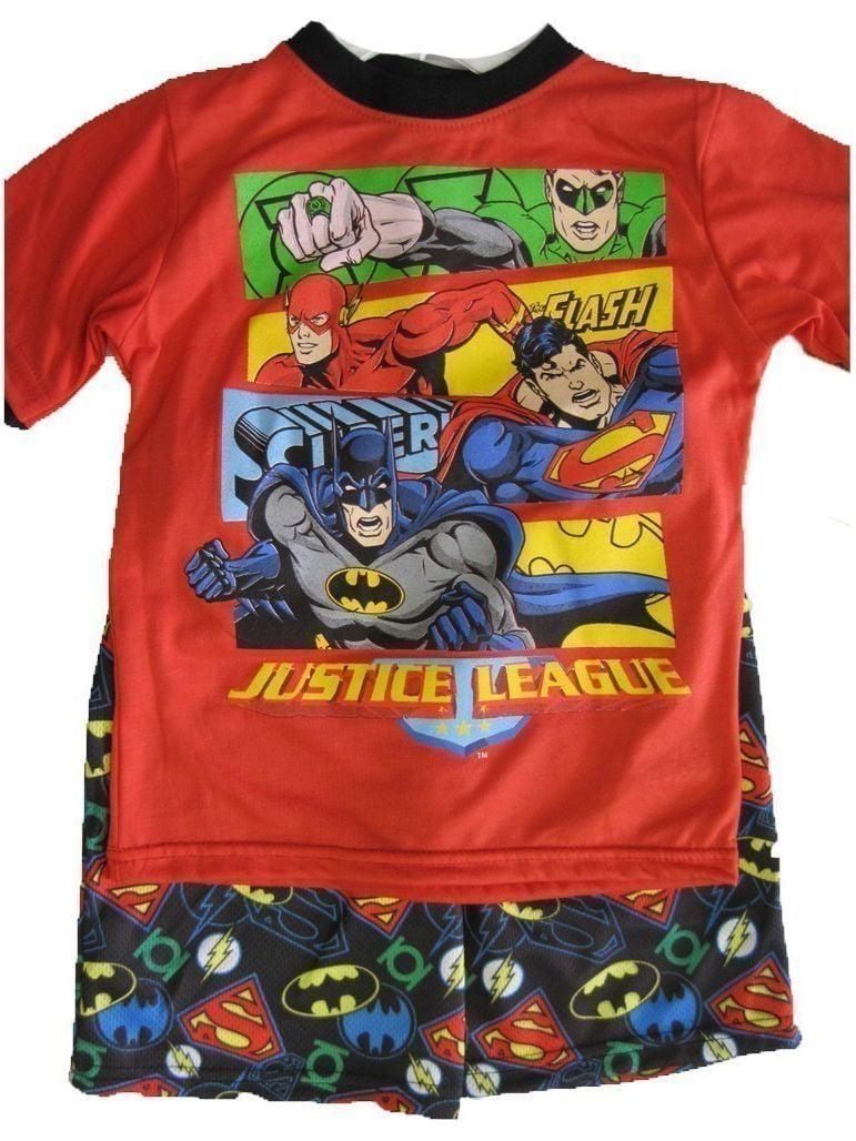 Little Boys Red Superheroes Print Logo 2 Pc Shorts Set 4-7