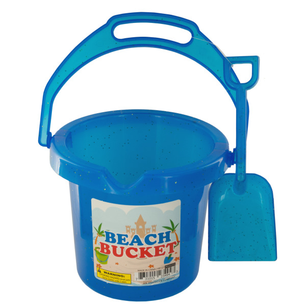 Click here to buy Glitter Beach Bucket With Shovel (Pack Of 24) by Bulk Buys.