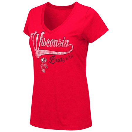 Womens NCAA Wisconsin Badgers V-Neck Short Sleeve Tee Shirt (Team Color)
