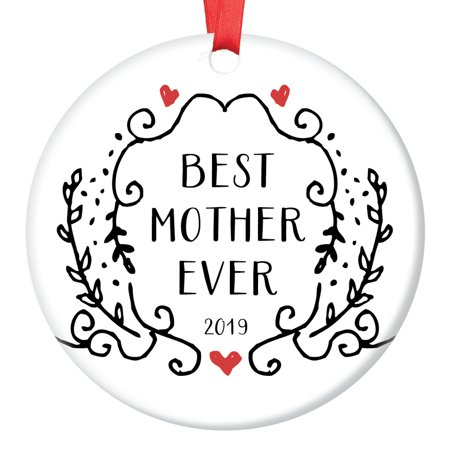 Gifts for Mom Ornament 2019 Christmas Keepsake Best Mommy Ever Birthday Mother's Day Present Newborn Son Daughter Stepchild Ornate Victorian Black & White Scroll Tree Decoration Ceramic 3