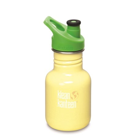 Klean Kanteen Stainless Steel 12oz Kid Kanteen Water Bottle with Green Sport Cap - Yellow (Suns Bottle)