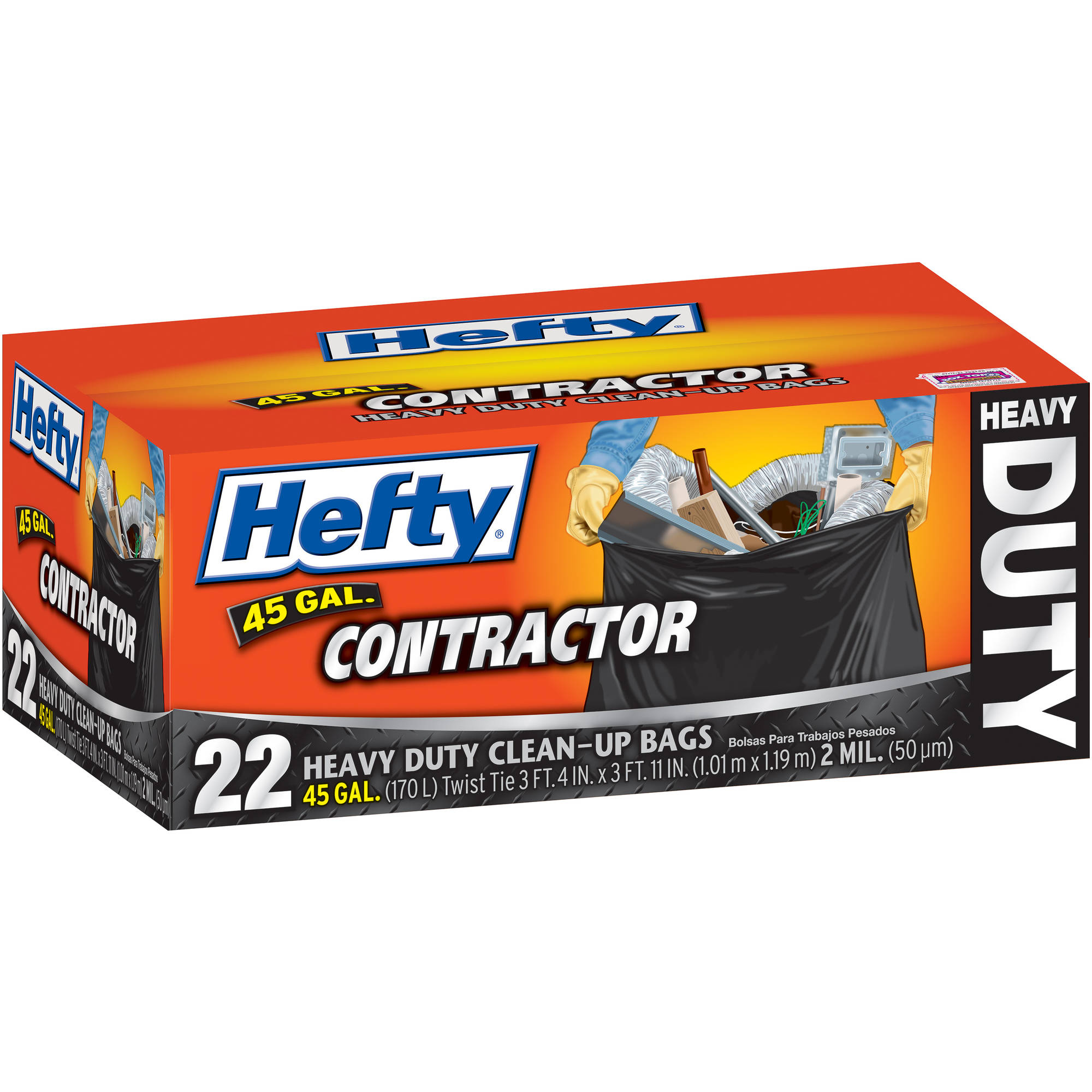 Hefty 45 Gallon Contractor Bags, 22ct