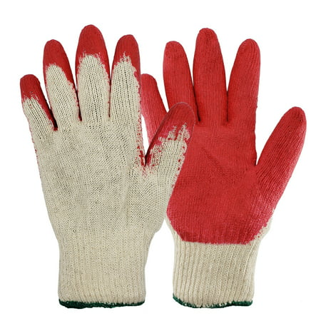 The Elixir 10 String Knit Palm, Latex Dipped Nitrile Coated Work Gloves Gardening Gloves for General Purpose, 10 Pairs One - Latex Palm Coated Knit Gloves