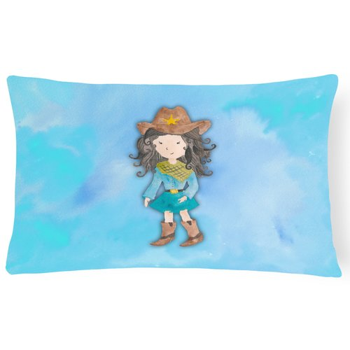 Zoomie Kids Chelsey Cowgirl Watercolor Lumbar Pillow