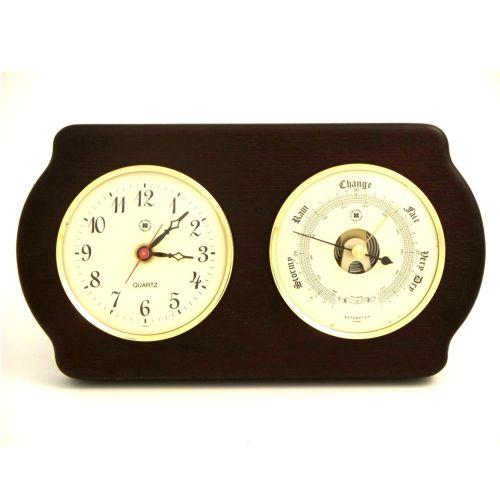 Quartz Clock & Barometer On Ash Wood With Brass Bezel by Bey Berk