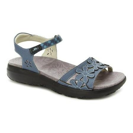 Jbu Womens Wildflower Leather Open Toe Casual Sport, Denim Blue, Size