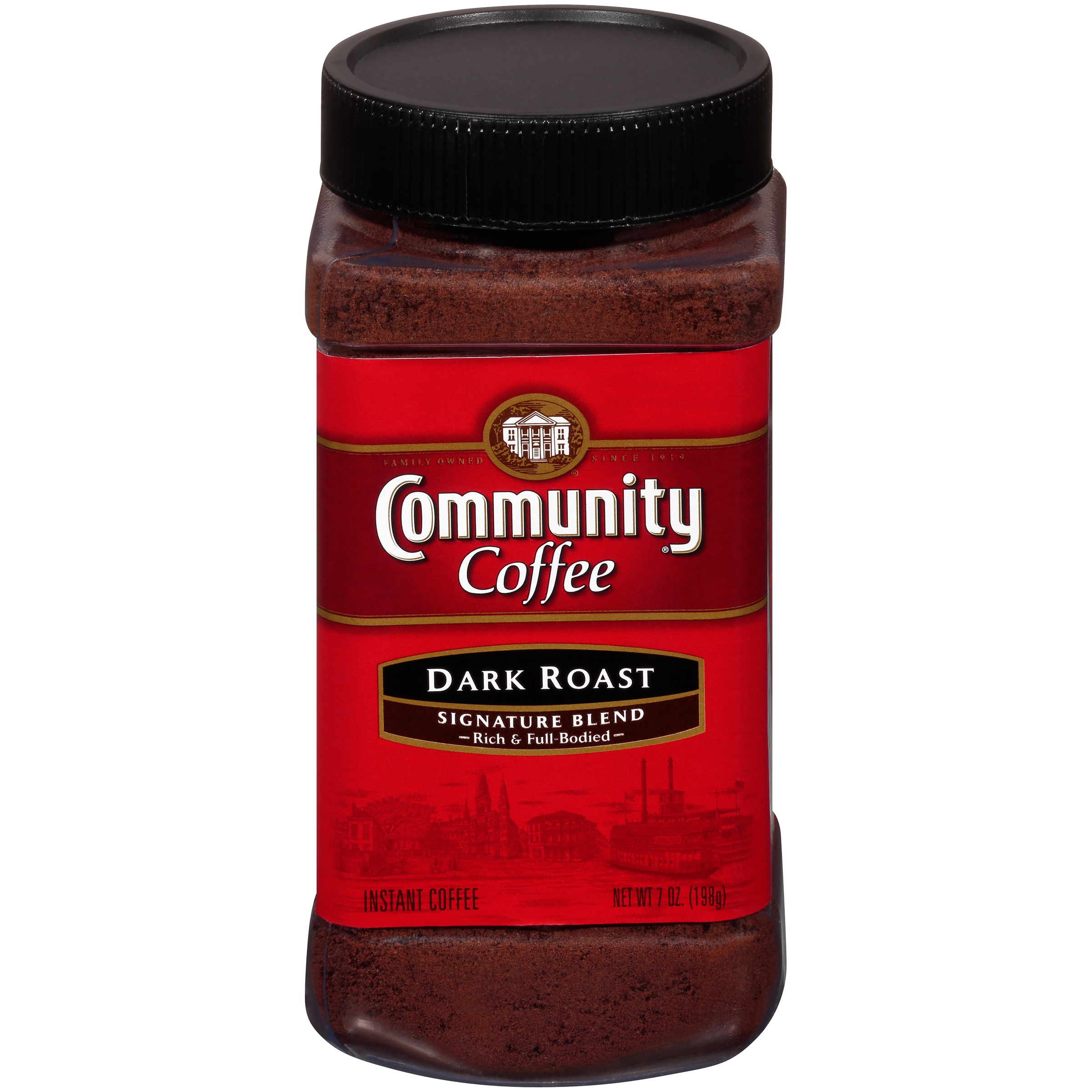 Community Coffee Ground Instant Coffee Signature Blend Dark Roast, 7 Ounce