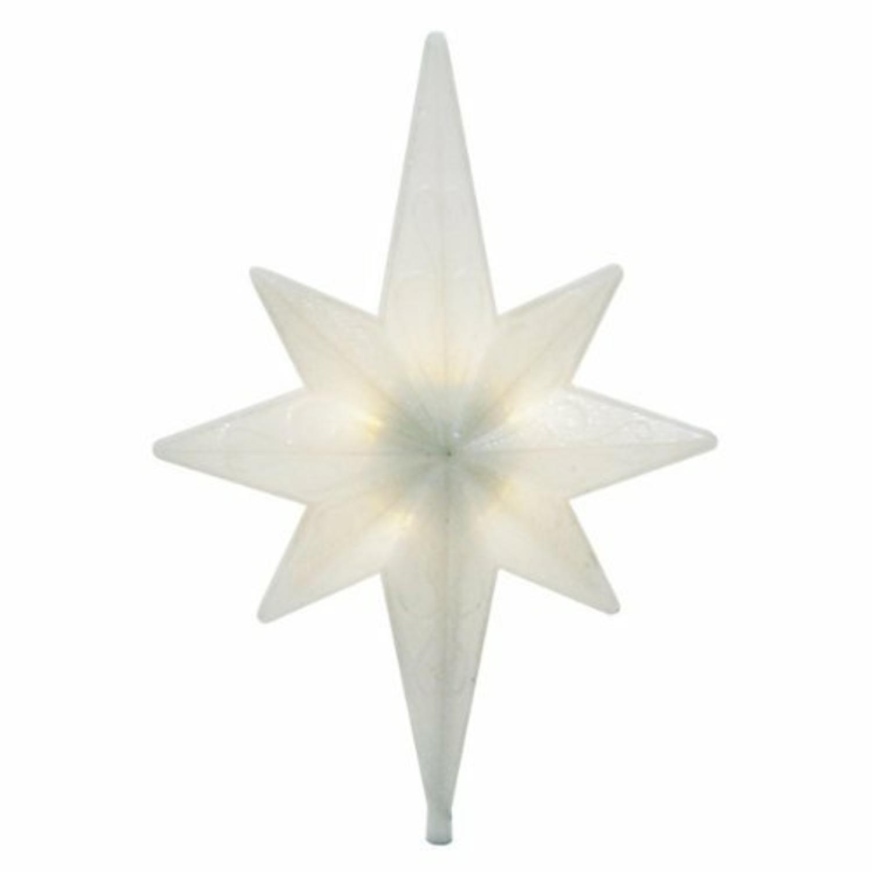 "12"" Lighted White Glitter Rotating Star Christmas Tree Topper - Clear LED Lights"