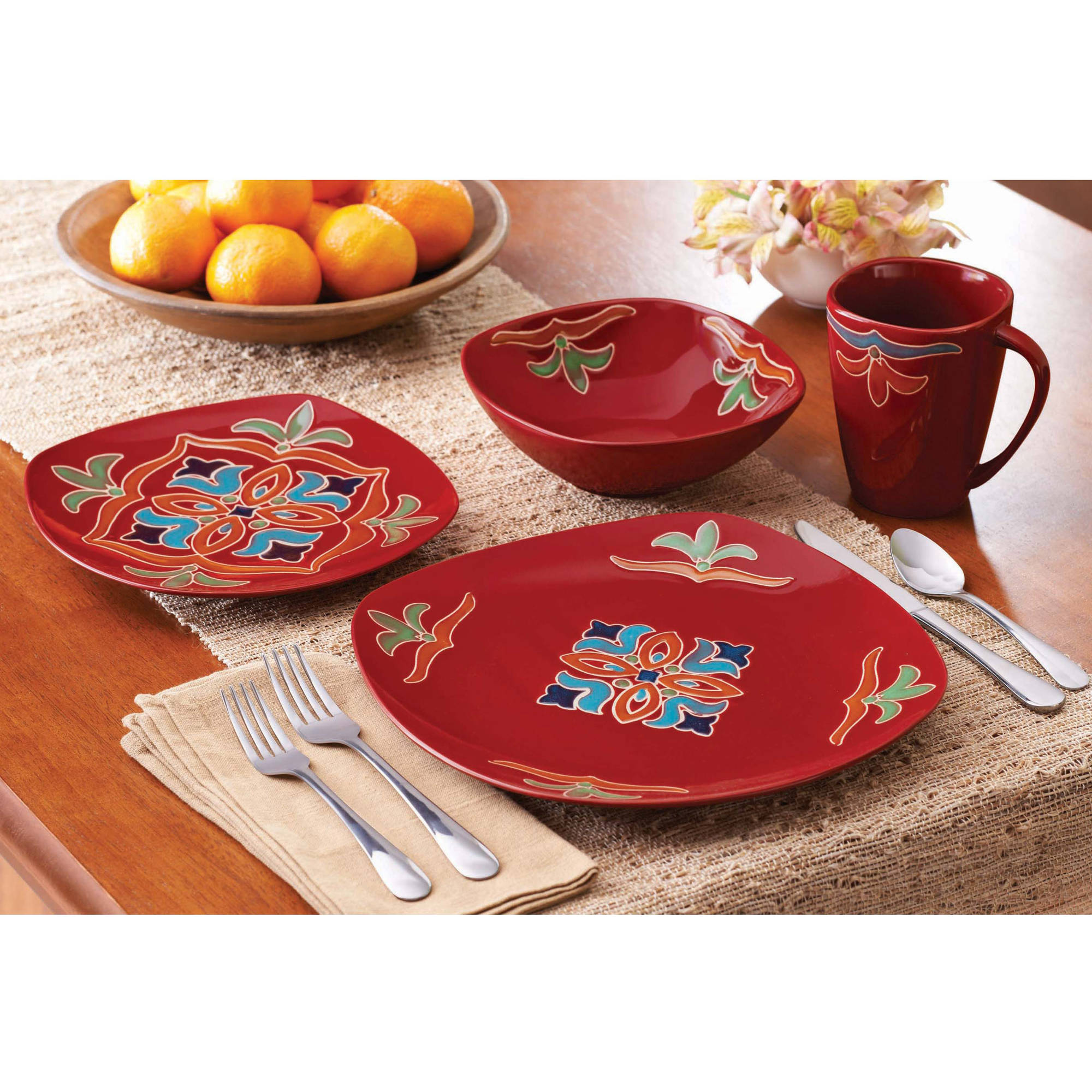 Better Homes And Gardens Medallion 16 Piece Square Dinnerware Set, Red    Walmart.com