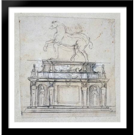 Design for a statue of Henry II of France on horseback 28x28 Large Black Wood Framed Print Art by Michelangelo 2 Large Framed Print