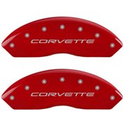 MGP 4 Caliper Covers Engraved Front C5/Corvette Engraved Rear C5/Z06 Red finish silver ch