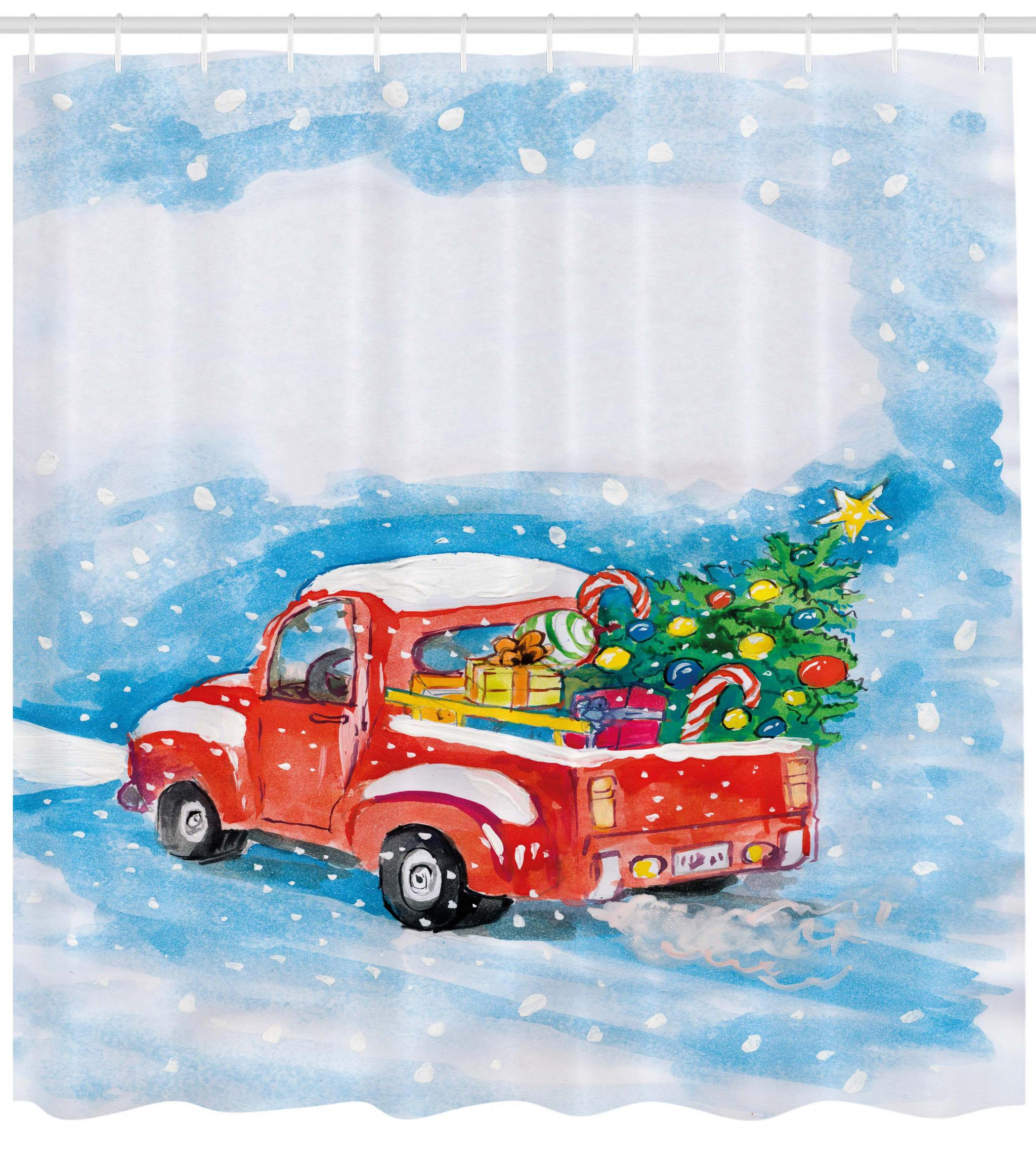 Christmas Shower Curtain, Vintage Red Truck In Snowy