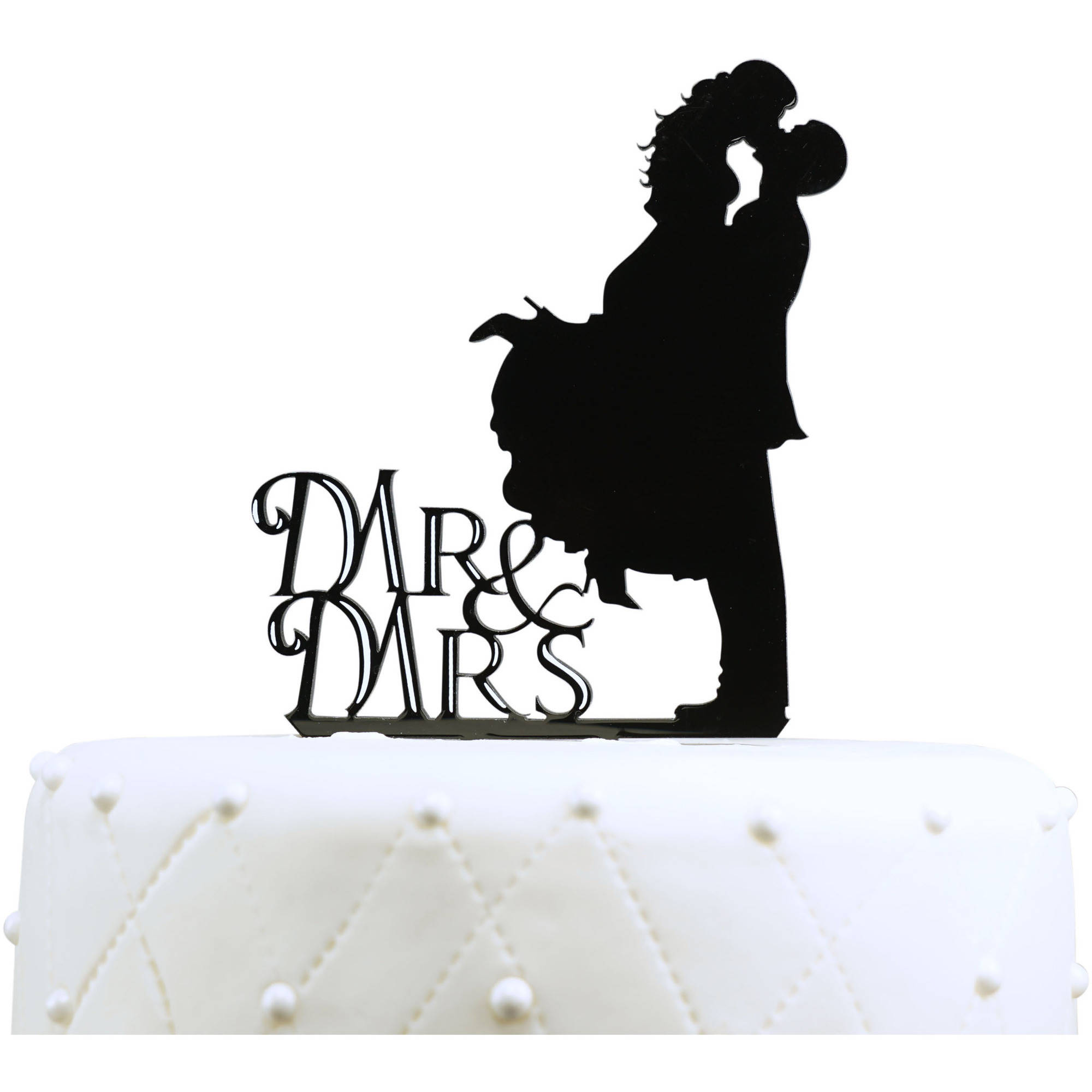 "Unik Occasions ""Mr. and Mrs."" Kissing Couple Silhouette Acrylic Wedding Cake Topper"