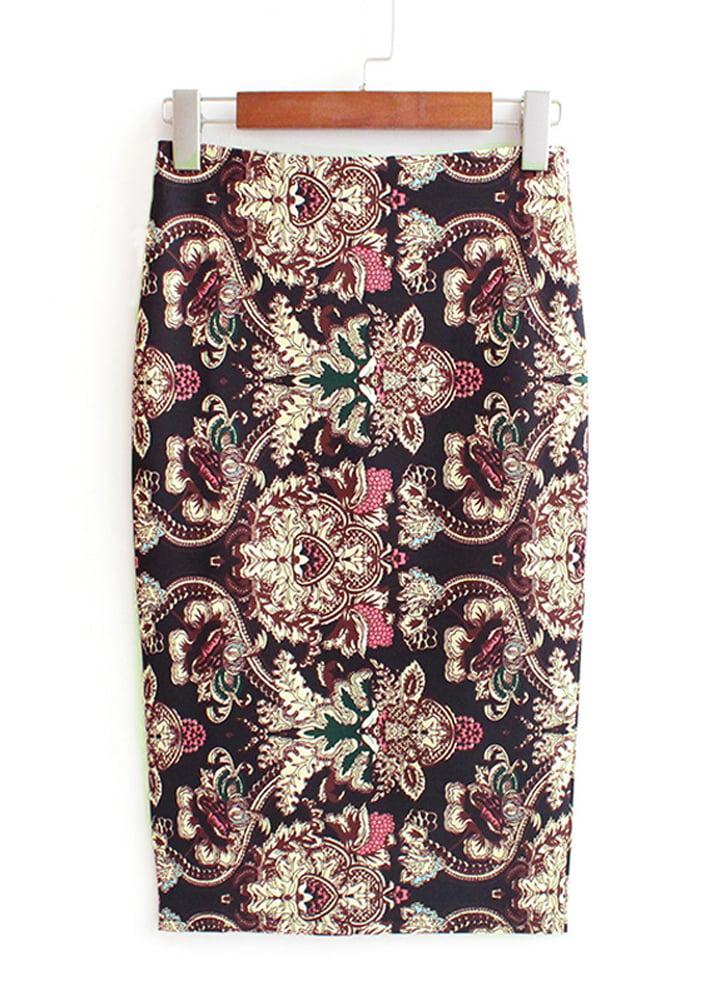 Women Zipper Split Skirt Pencil Hip Slim Bodycon High Waist Stripe Midi Skirt CB