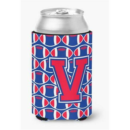 Carolines Treasures CJ1076-VCC Letter V Football Harvard Crimson & Yale Blue Can or Bottle Hugger - image 1 de 1