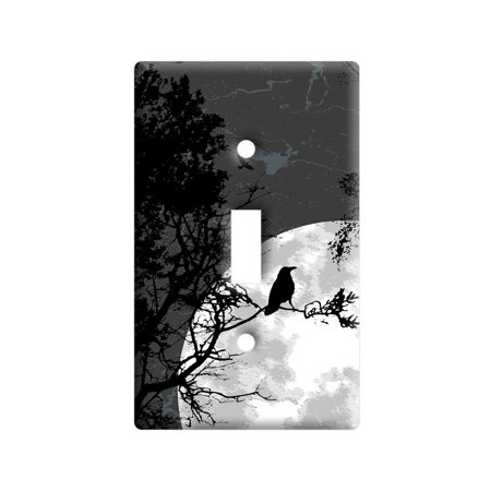 Raven at Night - Black Bird Full Moon Light Switch Plate Cover - Lightswitch Cover