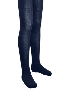 Girls Ribbed Cotton Hold and Stretch Footed Winter Tights - Navy (size 4/6)