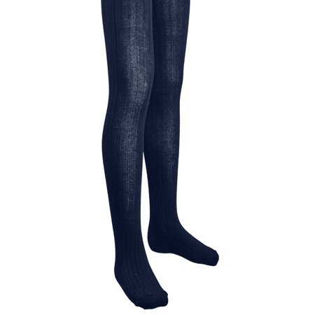 Stretch Footed Tights - Sportoli Girls Ribbed Cotton Hold and Stretch Footed Winter Tights - Navy (size 4/6)
