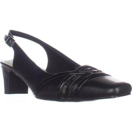 Womens Easy Street Kristen Slingback Kitten Heels, Black/Patent, 7.5 US