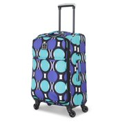 French West Indies 20-inch Carry-On Spinner Suitcase Luggage - Retro Dot Teal