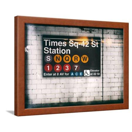 Subway Times Square - 42 Street Station - Subway Sign - Manhattan, New York City, USA Framed Print Wall Art By Philippe Hugonnard New York Usa Framed