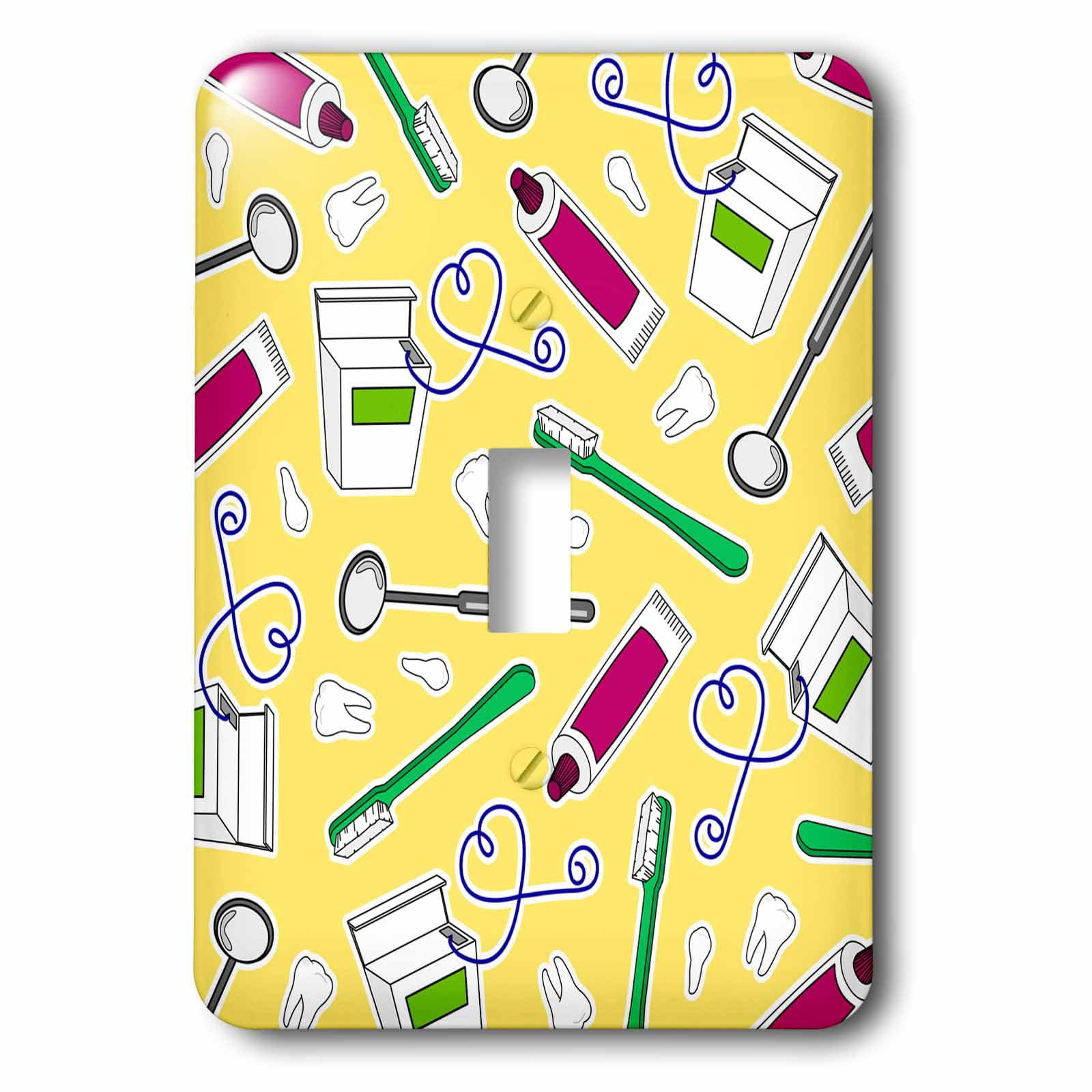 3dRose Cute Dentist Dental Hygienist Print Yellow, 2 Plug Outlet Cover