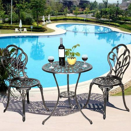 Cast Aluminum Patio Furniture Tulip Design Bistro Set Antique Copper ...