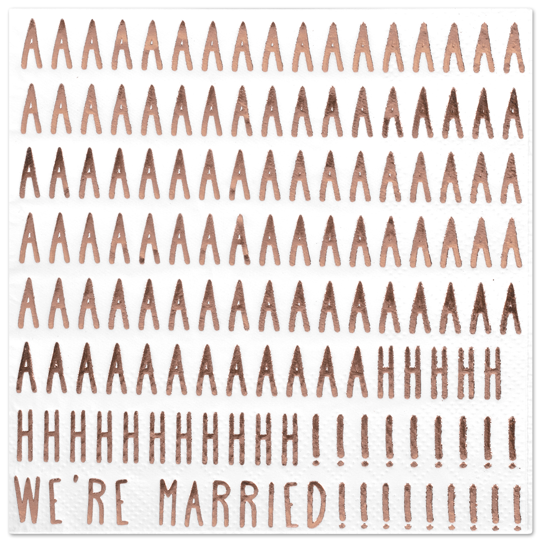 Koyal Wholesale We're Married Funny Quotes Cocktail Napkins, Rose Gold Foil, Bulk 50 Pack Count 3 Ply Napkins