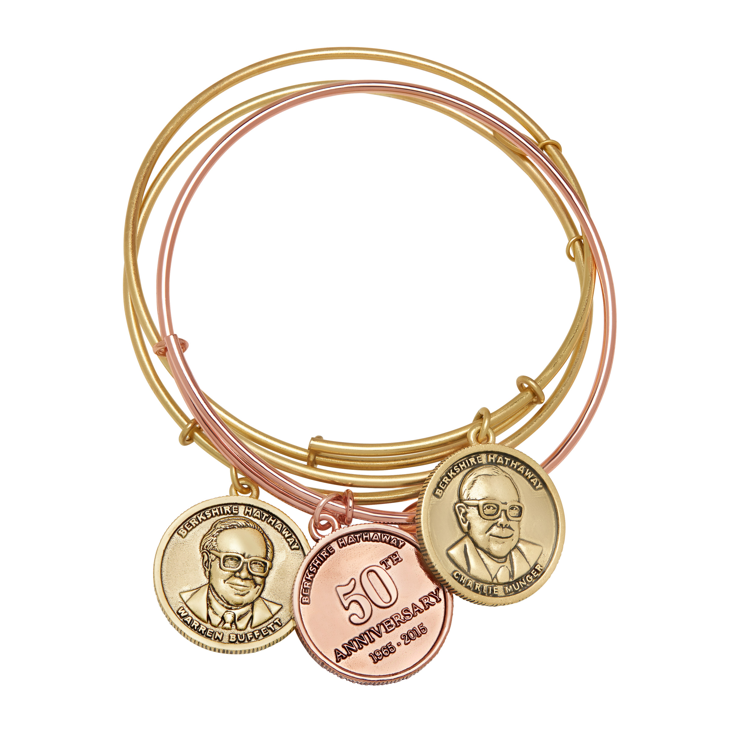 Chrysalis Berkshire Hathaway Bangle Bracelet Set in 14kt Rose & Yellow Gold-Plated Brass