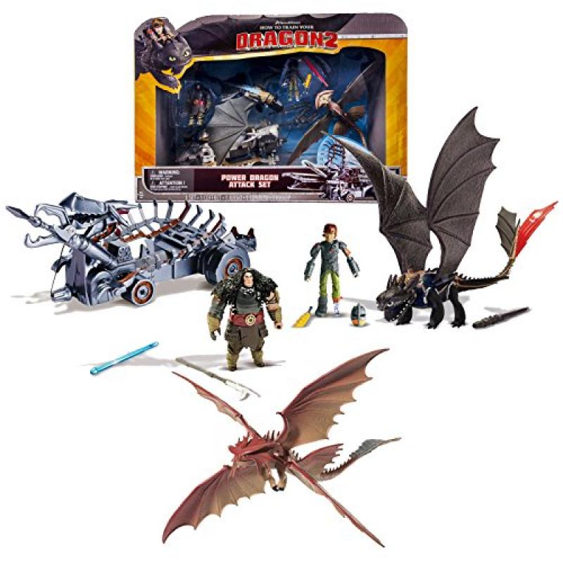"Spin Master Year 2014 Dreamworks ""How to Train Your Dragon 2"" Series 9 Inch Long Dragon Figure Playset - POWER DRAGON ATTACK SET with Toothless, Cloudjumper and Hiccup with Flame Sword and Removable H"