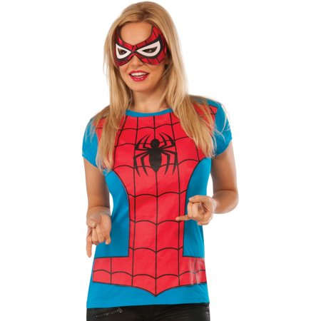 Womens Adult Spider Girl T-Shirt And Mask Set Costume](Girl Halloween Costumes Mask)