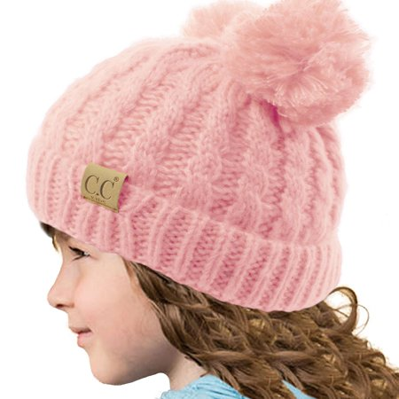 818076057 Kids CC Ages 2-7 Pom Pom Ears Chunky Thick Stretchy Knit Soft Beanie Hat