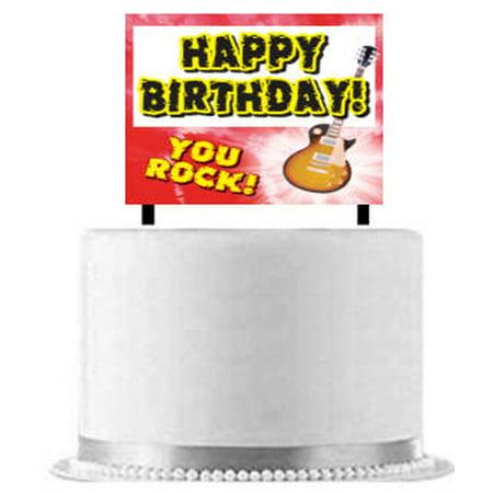 Happy Birthday Rock STar Cake Decoration Banner for $<!---->