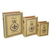 Cheung's FP-3073E-3 3 Book Decorative Box with Paris  Crown and Fleur De Lis (Set of 3)