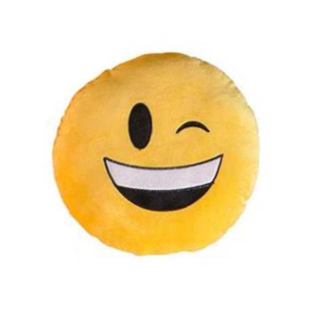 Wink Face Yellow Emoji Pillow Smiley Plush Cushion Cell Phone Emoticon Toy Winky - Smiley Face Cushion