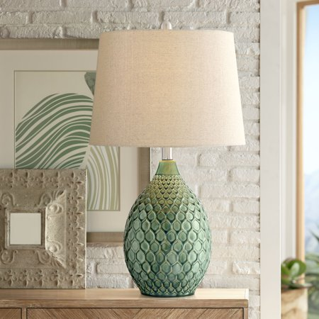 Acrylic Modern Table Lamp - 360 Lighting Modern Table Lamp Ceramic Green Oatmeal Drum Shade for Living Room Family Bedroom Bedside Nightstand Office