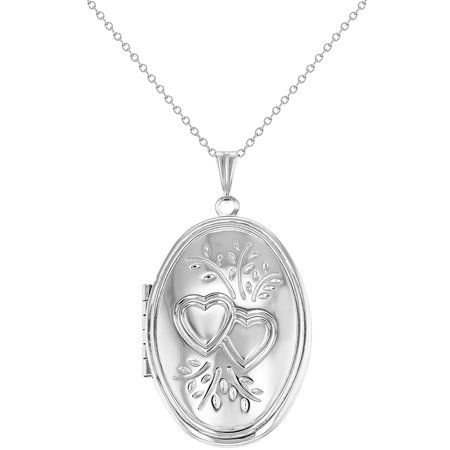 Silver Tone Oval Photo Locket Forever Pendant Necklace Heart Love Couple 19