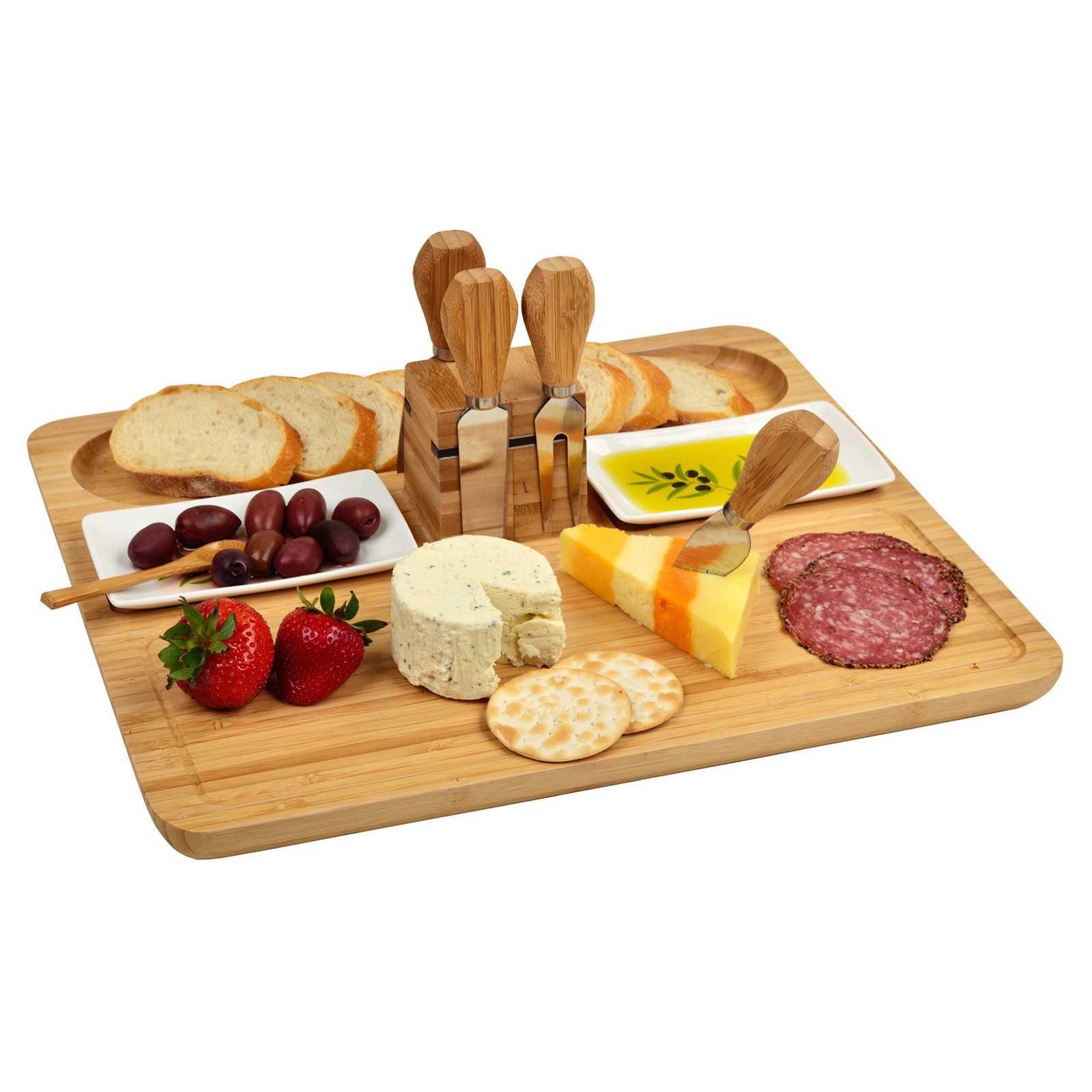 Picnic at Ascot Sherborne Bamboo Cheese Board Set with Dishes and Tools
