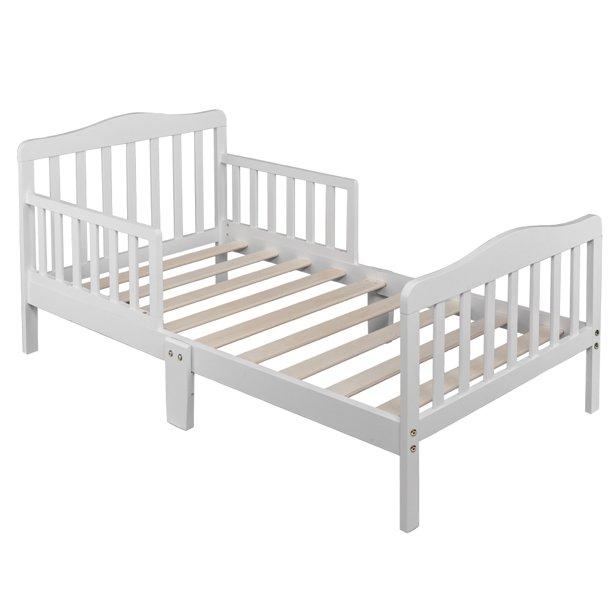 Wooden Baby Bed, SEVENTH Toddler Bed Frame with Two Side Safety Guardrails, Comfortable Kids Bed Wood Slat Support, Children Sleeping Bedroom Furniture Toddler Beds for Boys Girls, White, J469