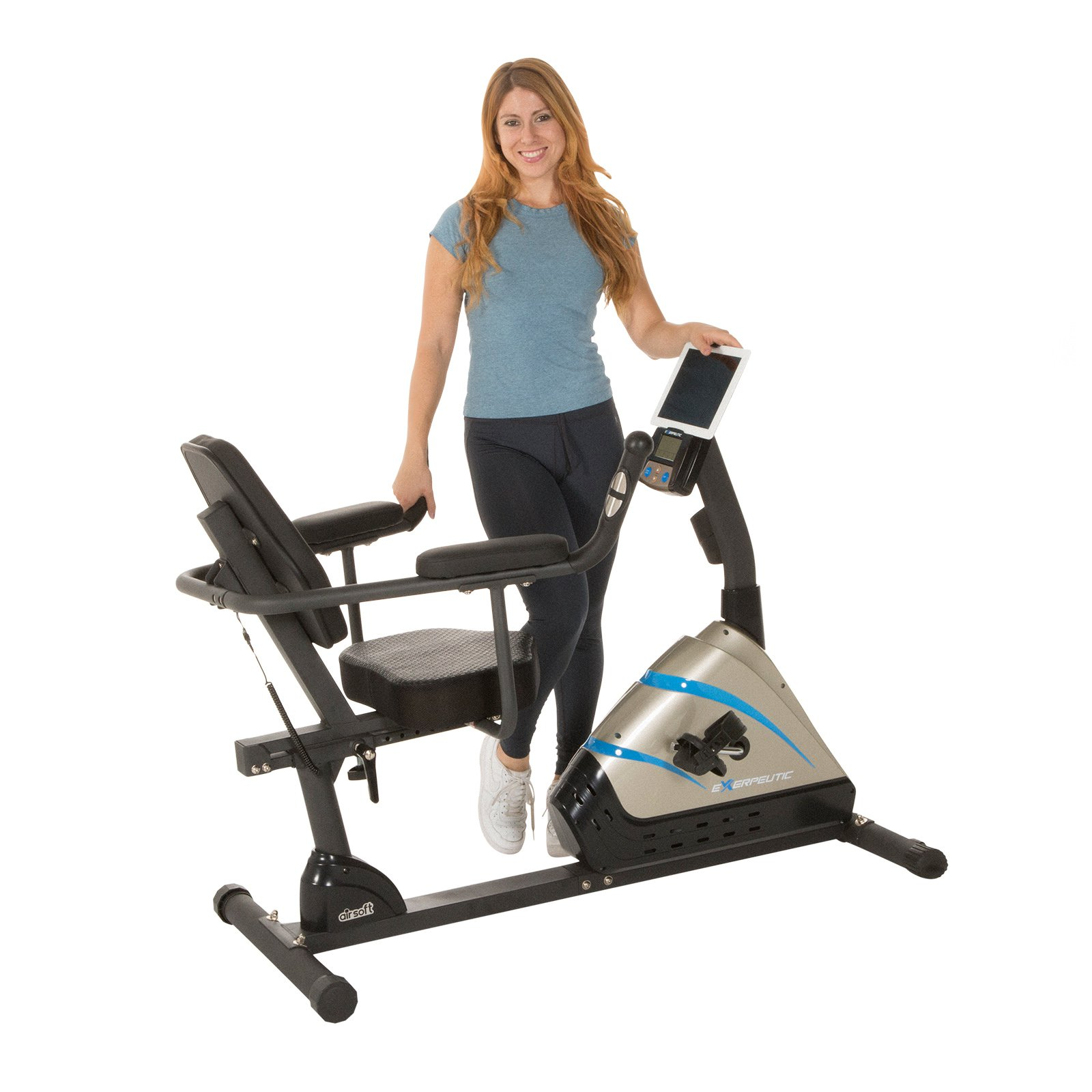 EXERPEUTIC 2000 High Capacity Programmable Magnetic Recumbent Bike with Heart Pulse Sensors