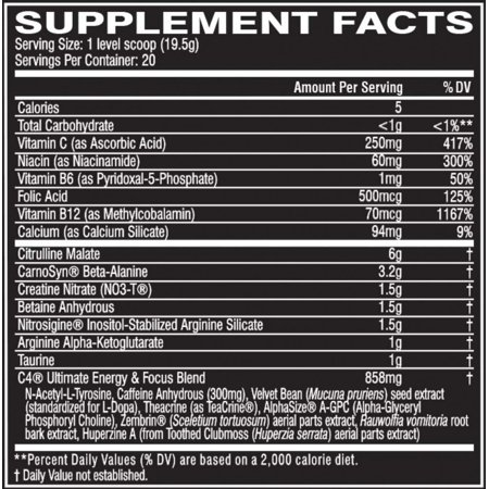 Cellucor C4  Icy Blue Razz Ultimate Pre-workout Dietary Supplement For Men & Women, 20 Servings - image 5 de 5