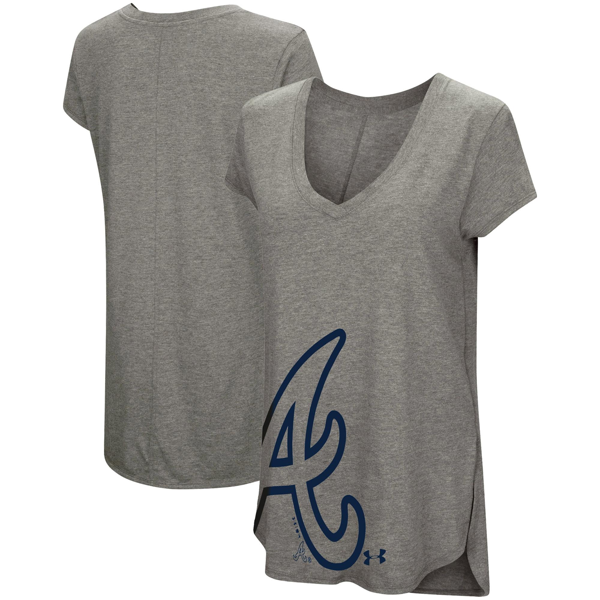 Atlanta Braves Under Armour Women's Pride Offset Logo V-Neck Performance Tri-Blend T-Shirt - Heathered Gray
