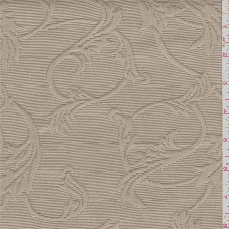 Creamy Brown Scroll Matelasse, Fabric By the Yard
